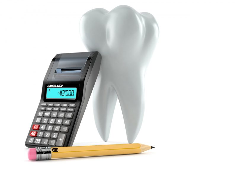 Tooth with calculator and pencil isolated on white background. 3d illustration