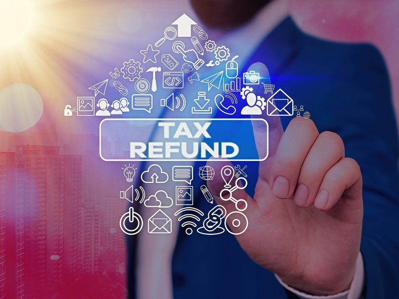 Text sign showing Tax Refund. Business photo text refund on tax when the tax liability is less than the tax paid